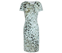 Printed knotted stretch-jersey dress