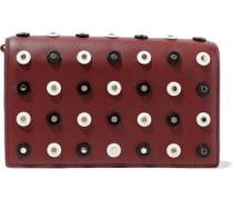 Soiree Studded Leather Shoulder Bag Brick Size --
