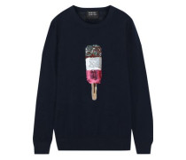 Natalie Embellished Cotton Sweater Navy