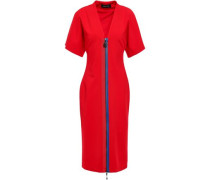 Grosgrain-trimmed Cady Dress Red Size 0
