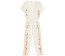 Embroidered cotton-gauze jumpsuit