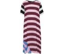 Hana Paneled Striped Crepe De Chine Midi Dress Baby Pink