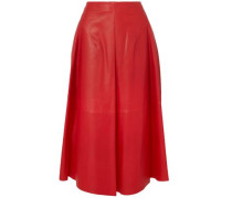 Leather Midi Skirt Red