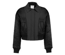 Cropped shell-paneled quilted satin bomber jacket