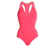 Cutout mesh-paneled swimsuit