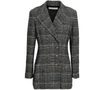 Double-breasted Checked Wool-blend Blazer Black