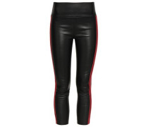 Cropped Stretch-leather Leggings Black