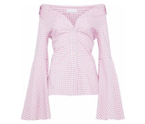 Persephone off-the-shoulder gingham cotton-poplin top