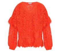 Woman Jerome Ruffled Corded Lace Blouse Papaya