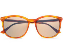 Woman D-frame Tortoiseshell Acetate Sunglasses Light Brown