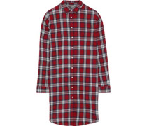 Elizabeth & Kenmare Checked Cotton And Tencel-blend Mini Shirt Dress Red