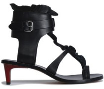 Ruffled leather sandals