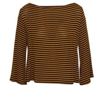 Cutout Hemp And Cotton-blend Jersey Top Camel