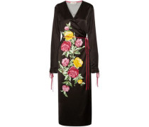 Grace Floral-print Satin Wrap Midi Dress Black Size 1