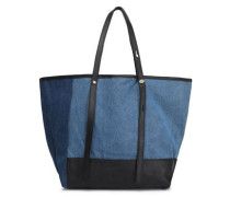 Andy leather-trimmed two-tone denim tote