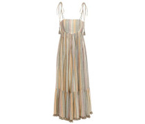 Woman Tasseled Metallic Striped Cotton-blend Midi Dress Multicolor