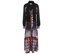 Draped Fil Coupé-paneled Silk-twill Maxi Dress Navy