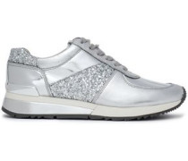 Glittered Metallic Leather Sneakers Silver