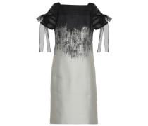 Tulle-trimmed Dégradé Jacquard Dress Black