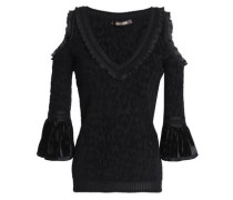 Cold-shoulder Velvet-trimmed Jacquard-knit Top Black