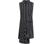 Andrea Asymmetric Striped Cotton-poplin Dress Black