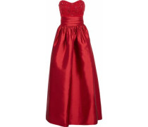 Strapless Embellished Tulle-paneled Satin-faille Gown Red