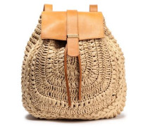 Woman Braided And Textured-leather Backpack Sand
