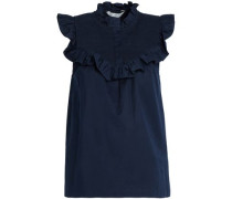 Shirred ruffled cotton-blend poplin blouse