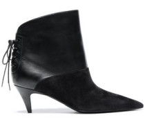 Lace-up Suede And Leather Ankle Boots Black