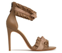 Ruffled knotted leather and suede sandals