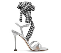 Gingham-trimmed Mirrored-leather Sandals Silver
