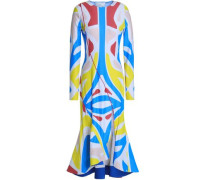 Printed stretch-jersey midi dress