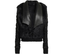 Shearling-trimmed Leather Jacket Black