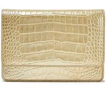 Mara Metallic Croc-effect Leather Shoulder Bag Gold Size --
