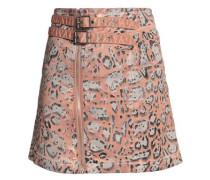 Leopard-print stretch cotton-twill mini skirt