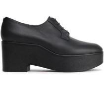Pebbled-leather Platform Brogues Black