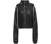 Leather Hooded Jacket Black
