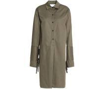 Satin-paneled cutout cotton-twill shirt dress