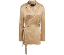 Woman Crepe-satin Wrap Jacket Light Brown