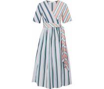 Paneled Striped Cotton-poplin Midi Wrap Dress Light Gray