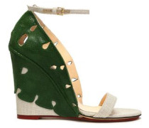 Cutout snake-effect leather and canvas wedge sandals
