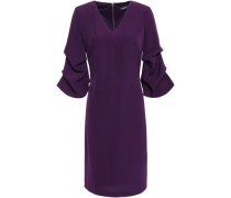 Gathered Stretch-crepe Dress Dark Purple