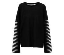 Oversized Wool And Silk-blend Jacquard Sweater Black