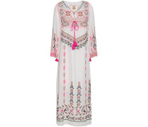 Tasseled Embroidered Silk Crepe De Chine Kaftan White