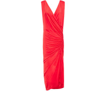Woman Ruched Stretch-jersey Midi Dress Red