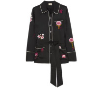 Georgie Belted Embroidered Satin Shirt Black
