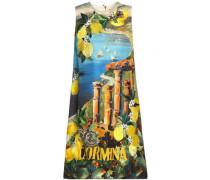 Paneled embellished printed silk-crepe dress