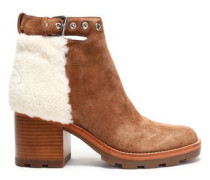 Santiago shearling-paneled suede ankle boots