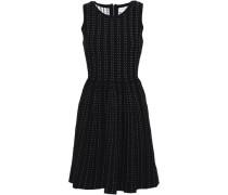 Pleated Jacquard-knit Mini Dress Black