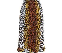 Leopard-print woven midi skirt